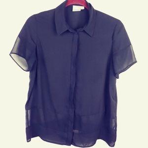 Asos Short Sleeve button up blouse, black, 6